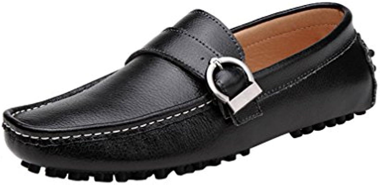 Icegrey Hombre Mocasines Zapatos de Cuero de Los Hombres del Mocasín con Hebilla Conducir Zapatos