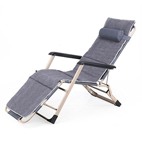 Klappstuhl Siesta Bett Pflegebett Faltbares Bett Recliner Bett Strandkorb Indoor Lounge Chair mit Verstellbaren Polsterkissen (Doppelrohr + Wattepad) Grau