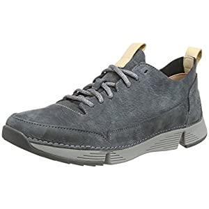 Clarks Tri Spark Leather Shoes in Dark Grey Standard Fit Size 9½
