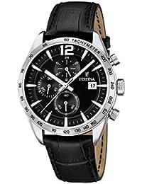 Festina - F16760/4 - Montre Homme - Quartz Analogique - Chronomètre/ Aiguilles lumineuses - Bracelet Cuir Noir