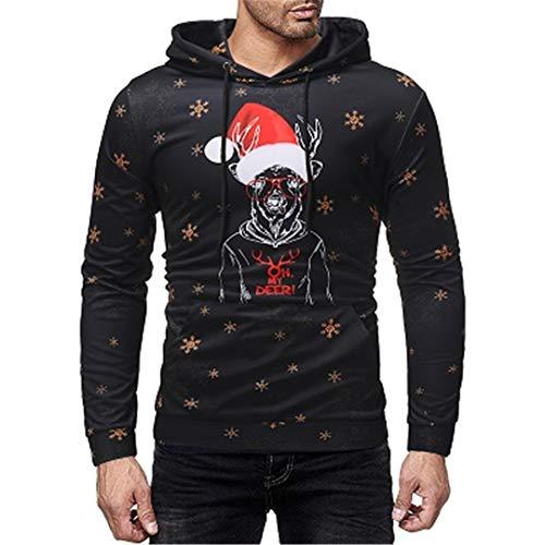 BaolaBei MäNner Weihnachten Casual Herbst Winter 3D Drucken Langarm Trainingsanzug Sweatshirt W037 Black XXXL
