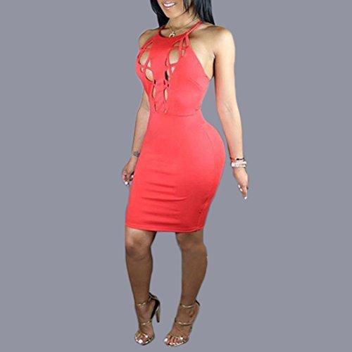 QIYUN.Z Rouge Sexy Femmes Croix Bandage Sans Manches Backless Robe De Soiree Moulante Club Rouge