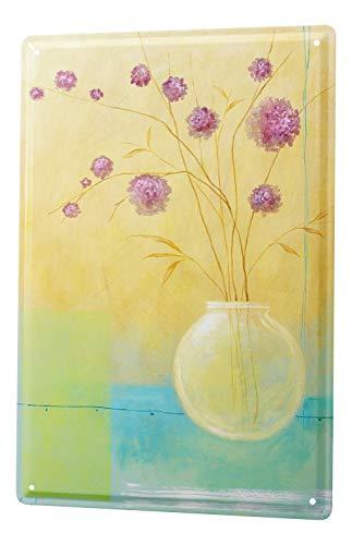 LEotiE SINCE 2004 Blechschild Wandschild 30x40 cm Vintage Retro Metallschild Flora Blumen Rote Spornblume