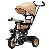 Unbekannt ZGB Spring@ Kinder-Dreirad Bike Dual Steering Geeignet für 1- bis 5-jährige Fahrräder Babywagen (Farbe : Khaki)