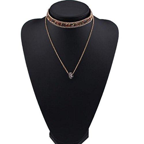 HSNZZPP Frauen Schmuck Retro-Zubehör Multi-Layer-Diamant-Halskette Bekleidungszubehör Frauen,2-OneSize