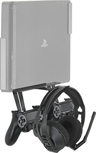 GamingXtra Halter für Controller und Kopfhörer für Sony PS4 und Xbox One Konsolen - Schwarz -