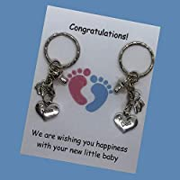 Mum Dad pregnancy expecting Handmade charm keyring baby shower gift ideal for a Party newborn