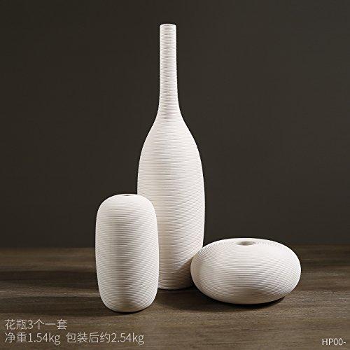 Lx.AZ.Kx Moderno chino Zen minimalista jarrones de porcelana blanca con mesa de...
