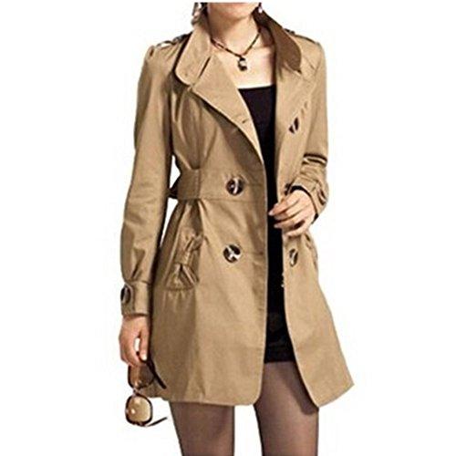 Damen Trenchcoat Doppel-breasted , Sondereu Elegante Mantel mit Gürtel Tasche Schlank lang Outwear Schöne Jacke Frühlingmantel Braun L