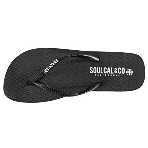 Tongs Soulcal Femmes Maui Chaussures Silicone Tongs Piscine Noire Plage