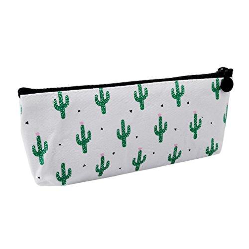 ODN Cactus Papier peint de bande dessinée étui à crayons sac de maquillage cosmétique sac à glissière