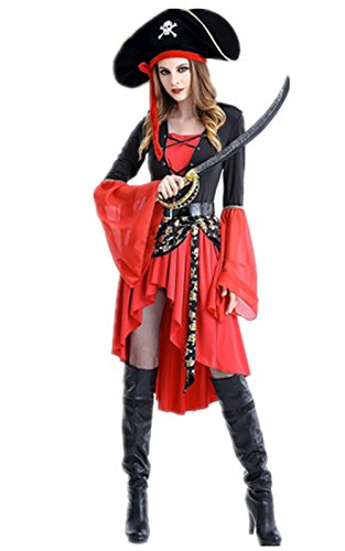 Halloween Kostüm Piraten Kleidung Pharao Damen Cosplay Damenkostüm Königin Kostüm Halloween Strumpfhalter Halloweenkostüm (M, (Kostüme Halloween Pirate)
