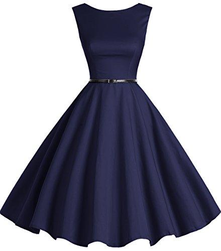 Bbonlinedress 50s Retro Schwingen Vintage Rockabilly kleid Faltenrock Navy XL (Blaues Kleid Für Frauen Hochzeit)