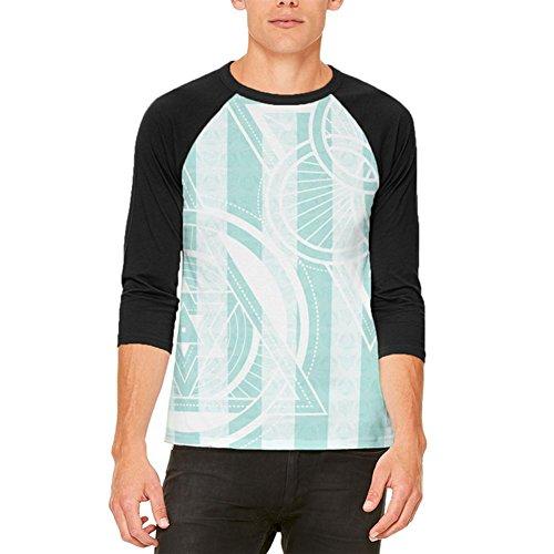 Sommer-Heilige Geometrie-Petrol Streifen Mens Raglan T Shirt White