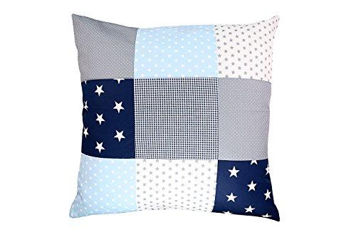 ULLENBOOM ® Patchwork Kissen 60x60 cm mit Füllung Blau Hellblau Grau (mit Reißverschluss, Bezug auch für Dekokissen geeignet, Motiv: Sterne, Patchwork) -