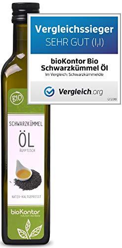 bioKontor // BIO Schwarzkümmelöl ägyptisch - nativ, kaltgepresst, 100{5f43ce147e4d79e970eff6ab840edcae16328aa1caf94f2d8bf5dec3f7e385ad} rein - 500 ml
