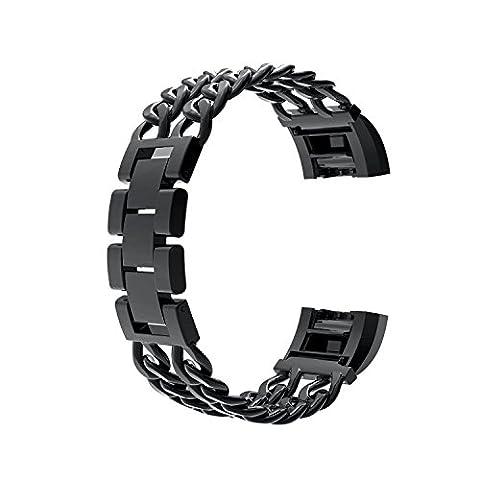 Wearlizer en métal Bandes de montre bracelet de remplacement pour Fitbit Charge 2–Noir Petit
