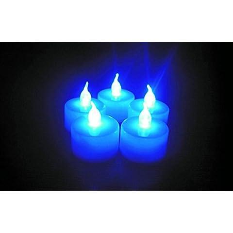 YRZT Electrónica LED té velas decorativas noche luces de colores (12 piezas) , blu ray