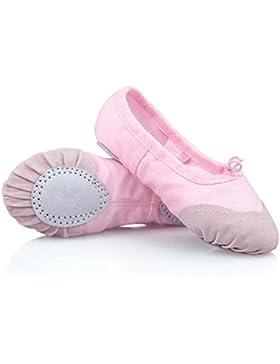 BLxi Zapatillas de ballet niña de lona suave en la parte inferior (rosa, 28Yards)