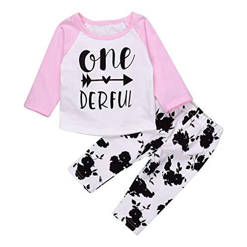 Chennie 0-24M Säuglingsbabys Herbst Outfits Set Langarm Top + Floral Leggings (Color : Pink, Size : 6-12M) -