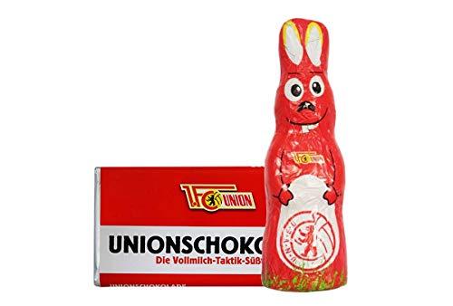 Kleines Ostern-Schoko-Fanpaket - Bundle mit einem Osterhasen und einer Schoko-Tafel aus Fairtrade-Kakao (250 g) (1. FC Union Berlin)
