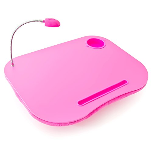 Relaxdays Laptopkissen, LED-Licht, tragbar, flacher Lapdesk, mit Getränkehalter, weiches kleines Schoßtablett, pink