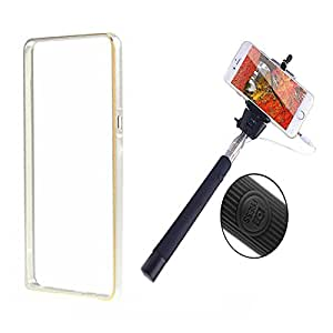 Dual Tone Circular Arc Shaped Metal Bumper Case Cover For HTC DESIRE 526 With Black color Selfie Stick