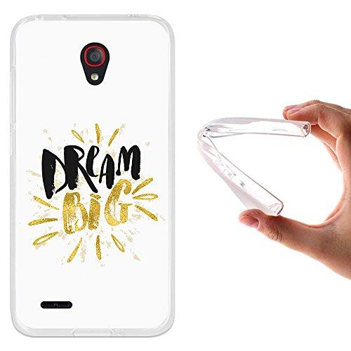 Alcatel OneTouch Go Play Hülle, WoowCase Handyhülle Silikon für [ Alcatel OneTouch Go Play ] Dream Big Work Hard Handytasche Handy Cover Case Schutzhülle Flexible TPU - Transparent