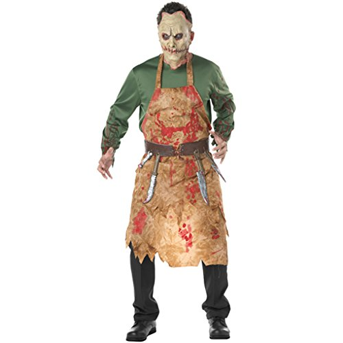 Masterein M?nner Halloween Horrible Bloody Metzger Tops mit Sch¨¹rze Mask G¨¹rtel Cosplay Kost¨¹me Outfits (Metzger Halloween-kostüm)