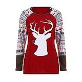 Luckycat Damen Fröhliche Weihnachten Mode Rundhalsausschnitt Baumwolle Langarmshirt Casual Bluse Tops Pullover Sweatshirt