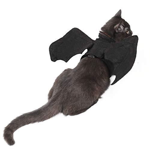 OHANA Haustier Katze Halloween Flügel Kostüm Hund Fledermausflügel Geschirr für Katzen und kleine Hunde Schwarz M