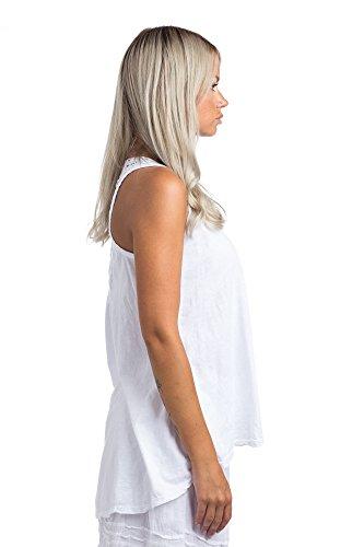 Abbino Shirts Tops Damen - Made in Italy - 1 Farbe - Übergang Frühling Sommer Herbst Damenshirts Damentops DamenT-Shirts Unifarbe Lässig Sexy Sportlich Freizeit Elegant Ärmellos Sale Weiss (Art. 6326)