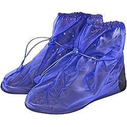 Cubrecalzado Impermeable de PVC - Resistente y Reutilizable - con Suela Antideslizante - galochas para Lluvia, Nieve y Fango - Modelo bajo - Azul (M (40-42), Azul)