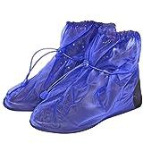 Wasserdichte Schuhüberzieher aus PVC - stabil und wiederverwendbar - mit rutschfester und verstärkter Sohle - Galoschen für Regen, Schnee und Matsch - Überschuhe - Klein (M (40-42), Blau)
