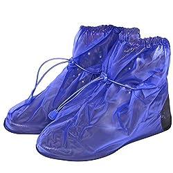 PERLETTI Wasserdichte Schuhüberzieher aus PVC - stabil und wiederverwendbar - mit rutschfester und verstärkter Sohle - Galoschen für Regen, Schnee und Matsch - Überschuhe - Klein (M (40-42), Blau)