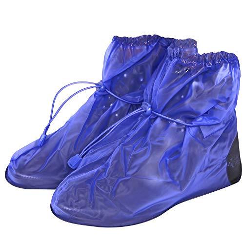 PERLETTI Copriscarpe Impermeabili in PVC - Resistenti e riutilizzabili - Copriscarpa con Suola Antiscivolo Rinforzata - Galosce Pioggia Neve e Fango - Modello Basso - Blu (S (36-39), Blu)