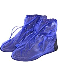 Cubrecalzado Impermeable de PVC - Resistente y Reutilizable - con Suela Antideslizante - galochas para Lluvia, Nieve y Fango - Modelo bajo - Negro/Azul