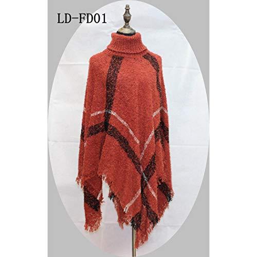 Women Fashion Plaid Tassel Thicken Turtle-neck Shawl Cloak Scarves