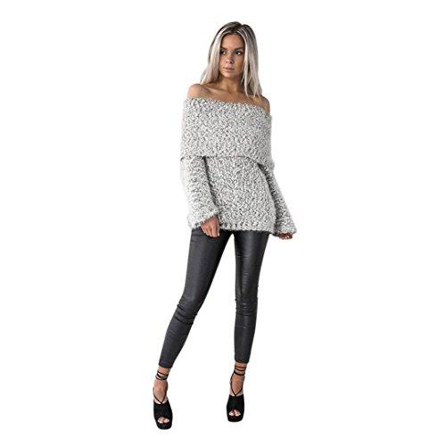 TWBB Bekleidung Damen Pullover, Einfarbig Sexy Schulterfreie beiläufige Lange Hülsen Pullover Strickjacke Mantel Bluse (L, Grau)