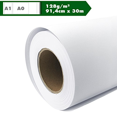 Inkjet Plotter Paper Roll Matt 128 g/m2 91,4 cm X 30 M A0 A1 Coated  Universal Waterproof Suitable for Dye and Pigment Inks