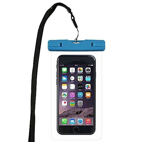 WindTeco Certifiée IPX8 Pochette Sac étanche Universel Waterproof Case Bag Housse Coque Etui pour Smartphones de Taille Égale et Inférieure à 6'', idéal pour natation, la plage, pêche, la randonnée, (Bleu)