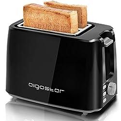 Aigostar Warrior 30JRL - Grille-pain 2 fentes extra-larges et 7 niveaux de brunissage. Fonctions toaster, décongeler, réchauffer et annuler. 750W, 0% BPA. Design exclusif.