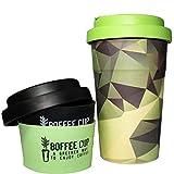 Wiederverwendbare Bambus-Kaffeetasse 2 DECKEL 2 HÜLSEN INKLUSIVE Völlig OHNE Plastic  Ökologischer Becher mit überlappenden Bambushüllen, Anti-Drip&Geschmack Spülmaschinenfest BPA&Phthalate Frei 400ml