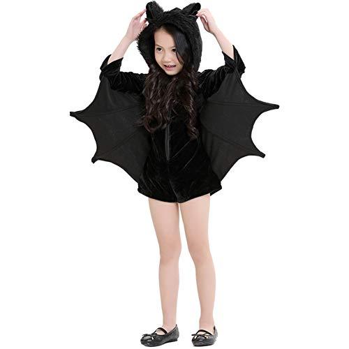 TTXLY Halloween Kostüme Jungen Mädchen Fledermäuse Kostüme Eine Tanzparty Kapuzenmantel Cosplay Party Kostüm, Optional für Erwachsene und Kinder,XS -