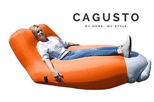 air-sofa CAGUSTO® orange Sitzkissen aufblasbar mit Rückenlehne verstellbar, air-lounger mit Kissen für Camping, Strand und Garten, Liegesack Bezug abnehmbar und waschbar, Luftmatratze Luftsofa Couch platzsparend, faltbar und tragbar, lazybag inkl. Rucksack