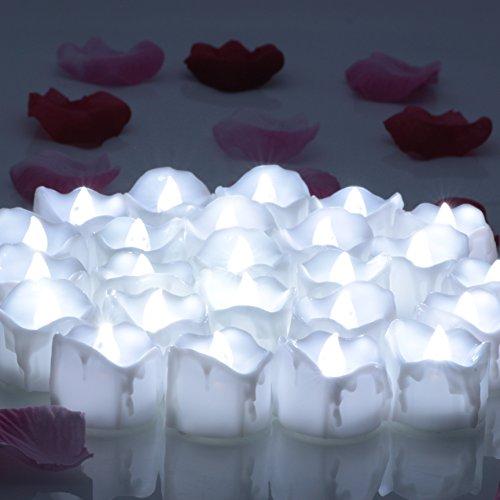 OMGAI 24X Batteriebetriebene LED Tee Licht Mit Timer Flackernde Flameless Kerzen für Weihnachten Hochzeit Neujahr Dekoration Kaltes Weiß
