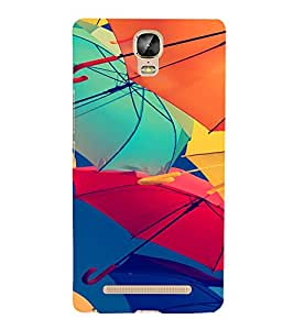 PrintVisa Colorful Umbrella Pattern 3D Hard Polycarbonate Designer Back Case Cover for Gionee Marathon M5 Plus