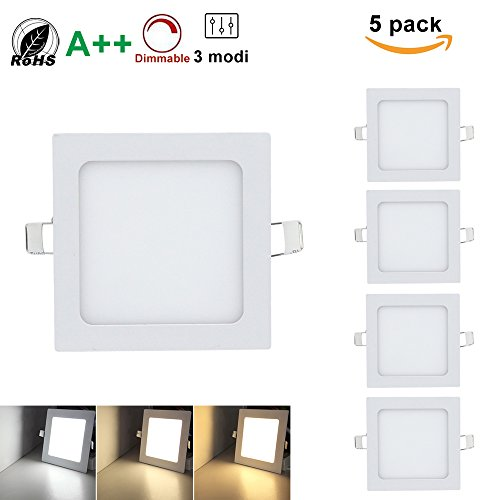 Hengda® LED Quadratisches Deckenleuchten,Super hell mit Trafo, Eckig Panel Deckenleuchte Einbauleuchte Downlight,3 Farbtemperaturen, AC 86-265V,für Garderobe Schlafzimmer (Eckig 9W*5) (Einbauleuchten Quadratische)