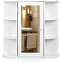 HOMFA Armario de pared con espejo Armario de baño 66*17*63cm