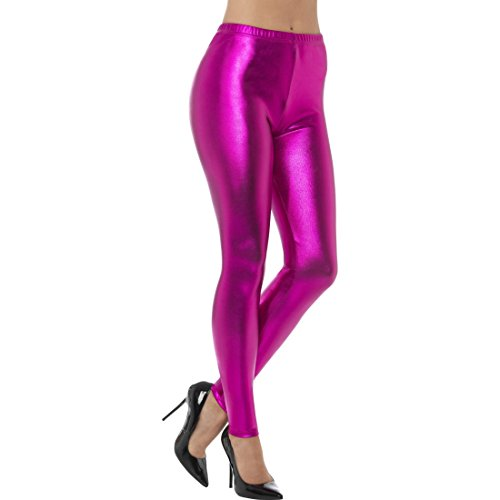 NET TOYS Pinke Metallic Leggings Disco Tights S (34/36) Shiny Pants Leggins rosa Glanzleggins 80er 90er -